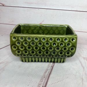 Mid Century Green Planter Dots Vintage Unmarked 6""